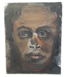 'Astrid Roemer', portret door Marlene Dumas. Onderdeel van de expositie 'Roemers Drieling'.